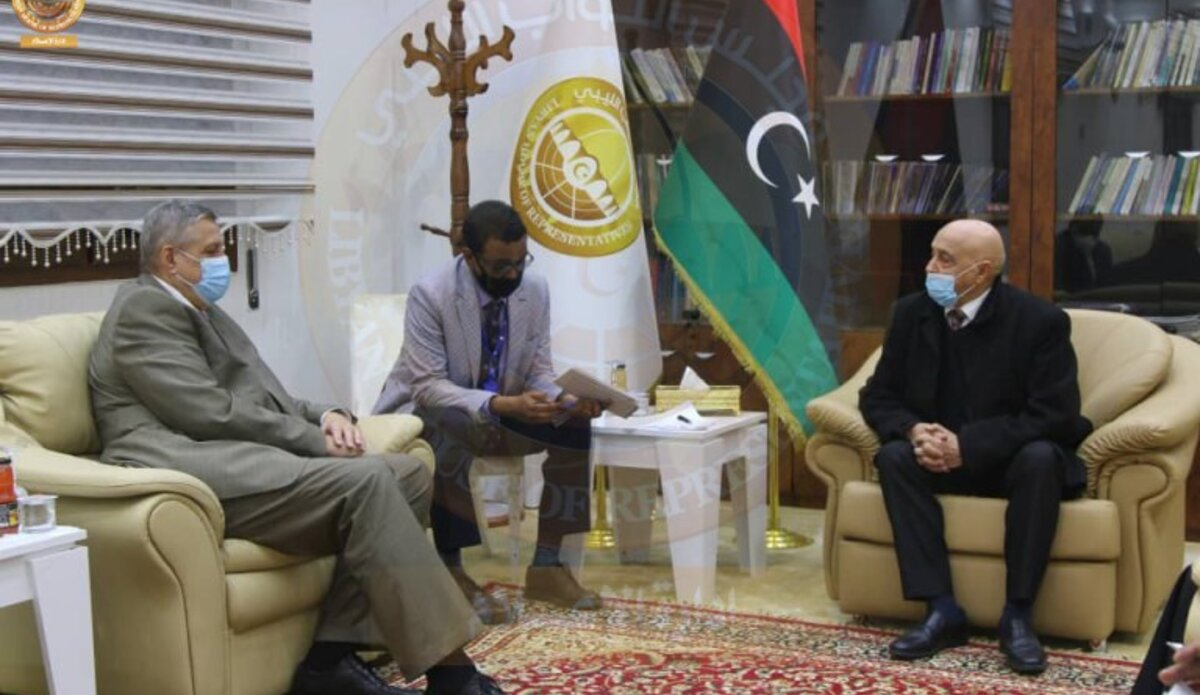 SE Kubis meeting with HoR Speaker Agila Salhe in al-Qubba - 30 March 2021